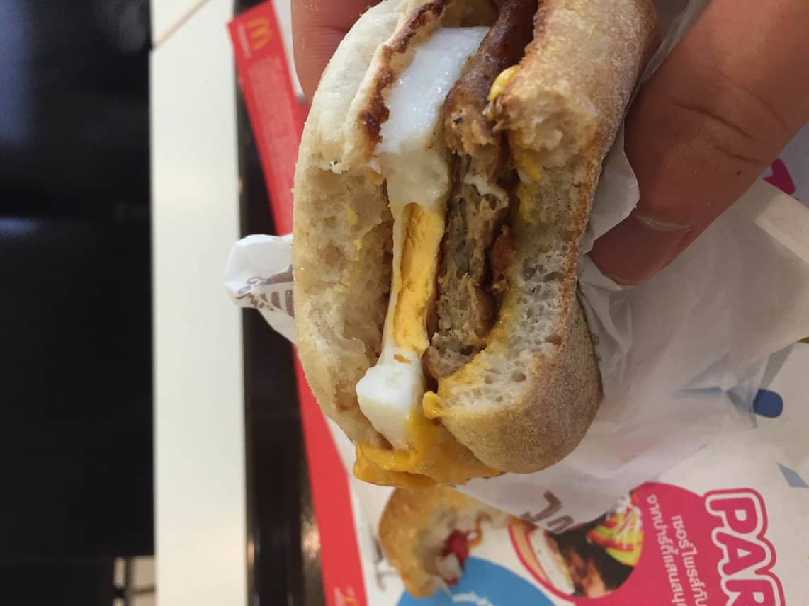 sausage egg and cheese McMuffin from McDonald
