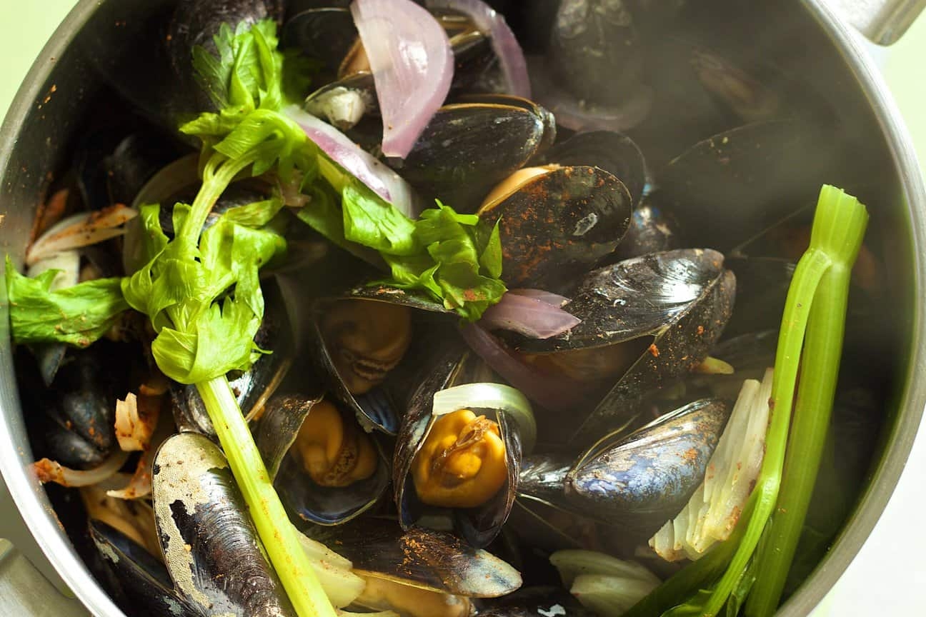 steaming pot of mussels, a traditional Belgian dish