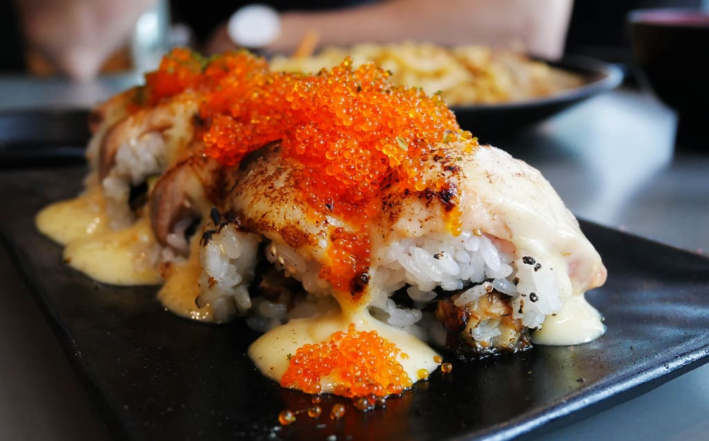 a crowd favourite, the signature shiok maki at koh grill & sushi bar